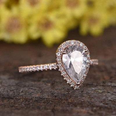 pear shaped halo moissanite engagement rings-BBBGEM moissanite pear bridal set