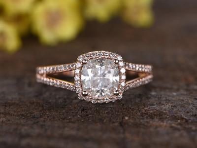 1.3 Carat Cushion Moissanite Engagement Rings Diamond Promise 14k Rose Gold Halo Stacking Band