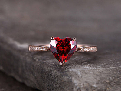 Sterling silver ring/Heart cut Red garnet engagement ring/Wedding ring/stackable ring/promise ring/Xmas gift/Can custom design gems