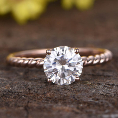 solitaire moissanite engagement ring rose gold 0