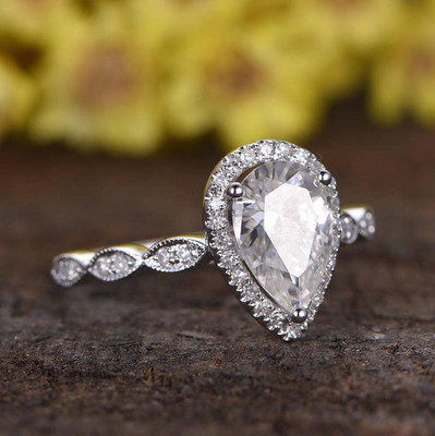 1.5 Carat Pear Moissanite Halo Engagement Ring
