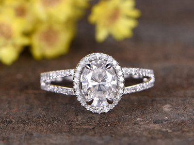 1.5 Carat Moissanite Oval Engagement Rings Diamond 14k White Gold Halo Split Shank Stacking Band