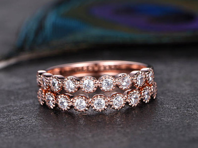 2pcs Half Round Shaped Cut Moissanite Ring,Moissanite Engagement Ring,Solid 14K Rose Gold,promise ring,Best friends,gift for her