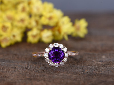 1.2 Carat Round Amethyst Diamond Engagement Ring With Moissanite Halo 14k Rose Gold Flower Stacking