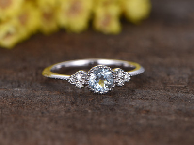0.5 Carat Round Aquamarine Diamond Engagement Ring 14k White Gold Milgrain Bezel Set