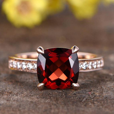 2.2 Carat Cushion Cut Garnet Diamond Ring