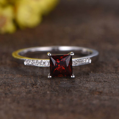 Princess Cut Garnet Diamond Ring