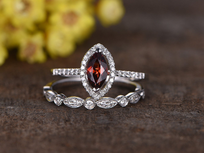 1 Carat Marquise Cut Garnet Wedding Set