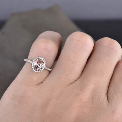 Oval cut morganite engagement ring white gold