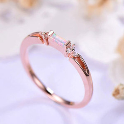 Baguette Cut opal engagement ring rose gold