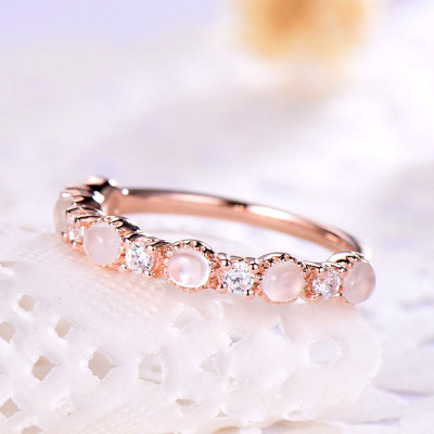 Moonstone Wedding Band Rose Gold Plated