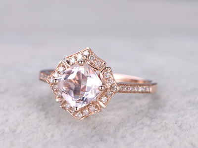 1.3 Carat Cushion Cut Morganite Engagement Ring Art Deco Flower Halo