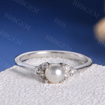 Pearl Engagement Ring White Gold Promise Antique Cluster Women Retro Art Deco Diamond Wedding White Akoya Birthstone Thin Anniversary Gift