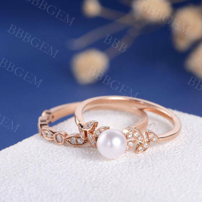 rose gold pearl engagement ring-BBBGEM pearl and diamond wedding ring