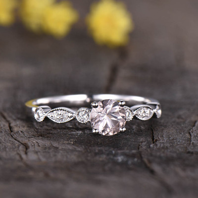 Art Deco Morganite Engagement Ring 0