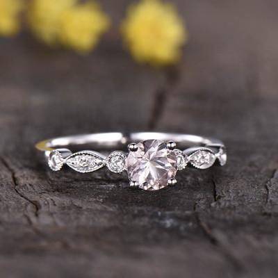 Art Deco Morganite Engagement Ring 0