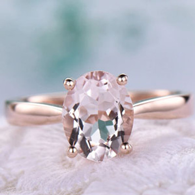 1.85 Carat Oval Morganite Engagement Ring