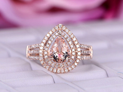 Pear Shaped Morganite Engagement Ring