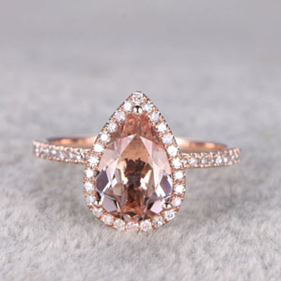 2 Carat Pear Shaped Morganite Engagement Ring