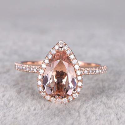 2 Carat Pear Shaped Morganite Engagement Ring