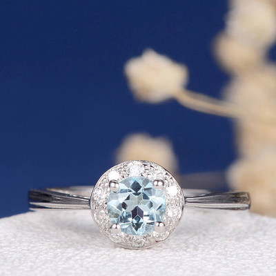 Aquamarine Engagement Ring Diamond Halo Wedding Bridal Ring White Gold March Birthstone Anniversary Promise Unique Birthday Women Everyday