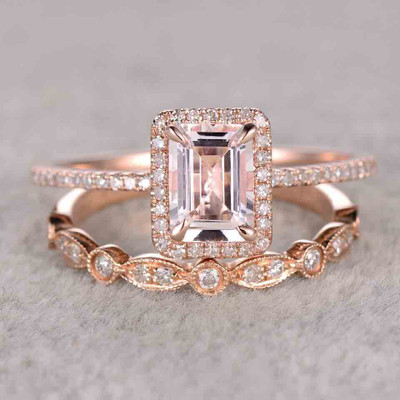 1 Carat Emerald Cut Morganite Wedding Set Diamond Bridal Ring