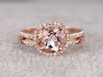1.8 Carat Round Morganite Wedding Set Diamond