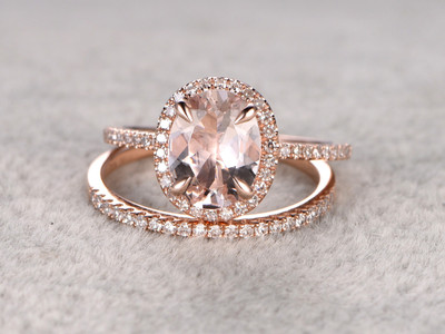 1.85 Carat Oval Morganite Wedding Set