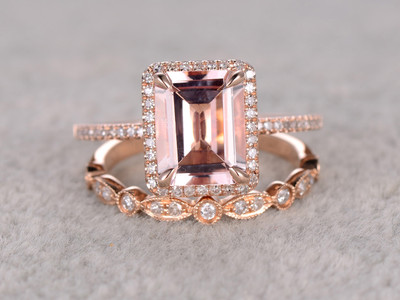 vintage emerald cut morganite engagement ring