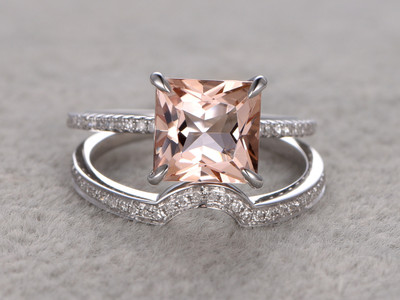 2.7 Carat Princess Cut Morganite Wedding Set Diamond Bridal Ring 14k White Gold Plain Edge Curved Matching Band