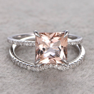 3 Carat Princess Cut Morganite Wedding Set