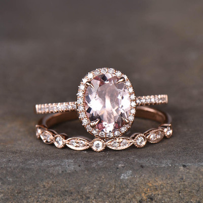 vintage morganite engagement ring set
