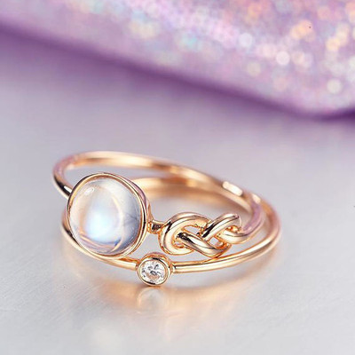 emale Moonstone Engagement Ring Rose Gold Love Knot