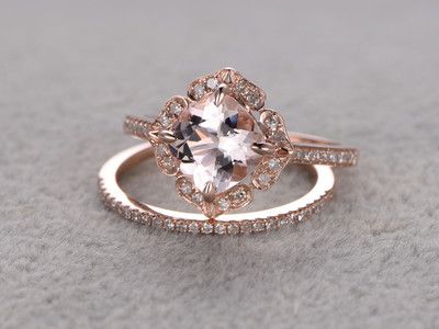 female morganite engagement ring