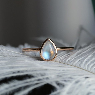 Bezel Set Simple  Pear Shaped Moonstone Engagement Ring Rose gold