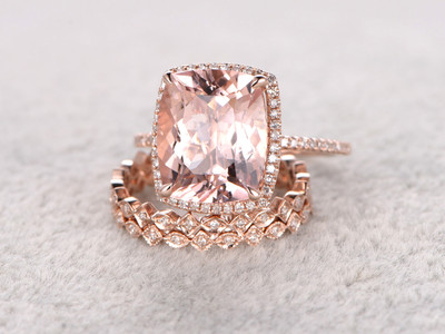 5 Carat Cushion Cut Morganite Wedding Set