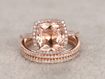 morganite wedding set rose gold