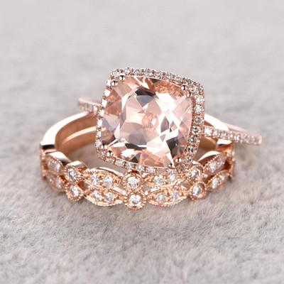 rose gold morganite bridal set-BBBGEM halo cushion morganite wedding sets
