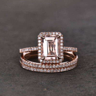 Emerald Cut Morganite Wedding Set