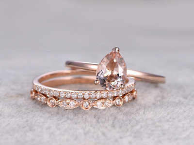 3pcs Pear Shaped Solitaire Morganite Wedding Set Antique Diamond Bridal Ring 14k Rose Gold Art Deco Half Eternity Band