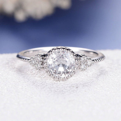 Antique White Sapphire Engagement Ring