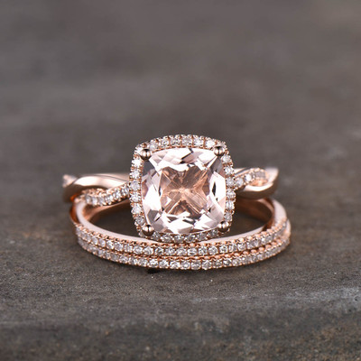 Cushion Cut Morganite Rose Gold Engagement Ring