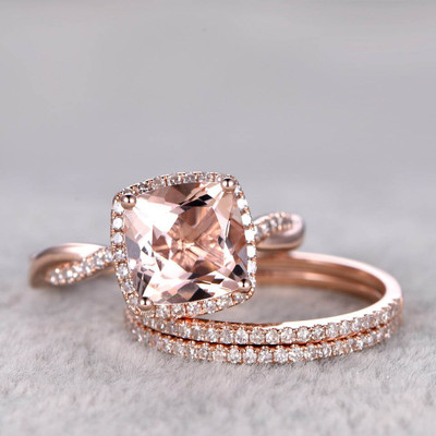 3 carat morganite engagement ring set