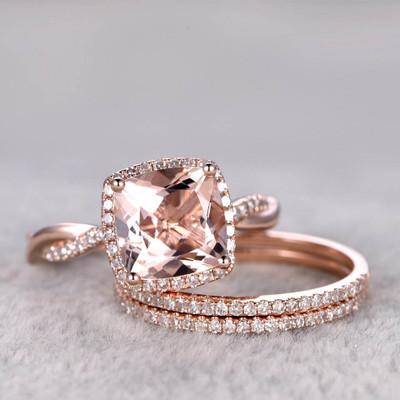 3 carat morganite engagement ring set
