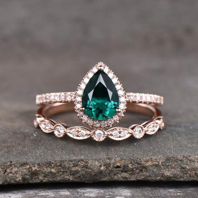emerald wedding set rose gold-BBBGEM 1 CT Emerald Rings For Women