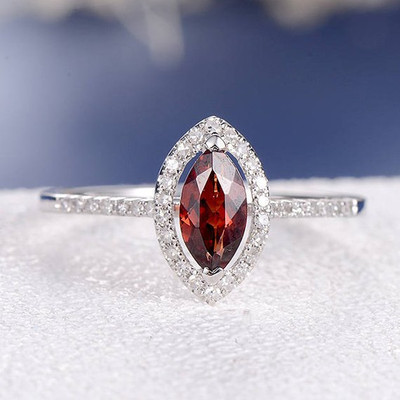 Garnet Engagement Ring Marquise