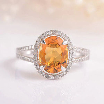 Citrine Engagement Ring Halo Diamond White Gold Ring Oval Cut Citrine Ring Split Shank Half Eternity Wedding Anniversary Bridal Birthstone