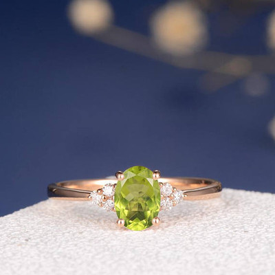 Peridot Engagement Ring Rose Gold 0