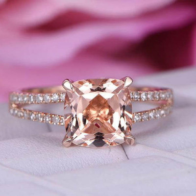 8x8 Cushion Cut Morganite Engagement Ring