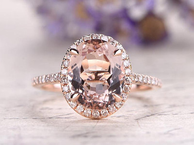 Oval Cut Pink Halo Morganite Engagement Ring Rose gold